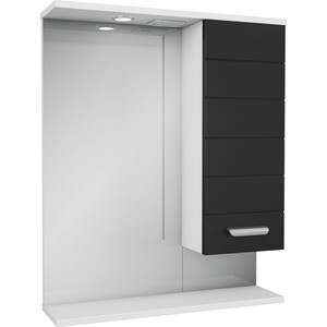 Зеркальный шкаф Меркана Таис 60 см шкаф справа свет выкл розетка черный каннелюр (25551) таис