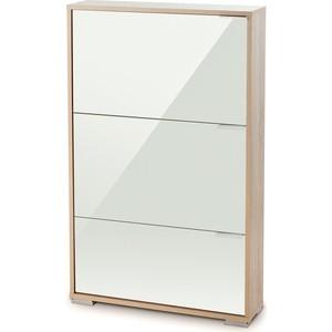 Обувница Вентал Арт Viva-3 стекло, дуб сонома/белый глянец