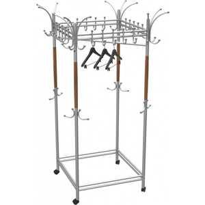 Вешалка гардеробная на колесах Мебелик Галилео 216, металлик /средне-коричневый