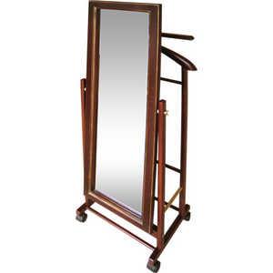 мебелик костюмная вешалка галант 332 алюминий средне коричневый Вешалка костюмная с зеркалом на колесах Мебелик В 24Н, средне-коричневый