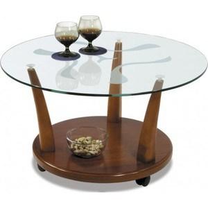 Стол журнальный Мебелик Квартет 4М, средне-коричневый/ прозрачное стол журнальный мебелик комфорт 3 орех средне коричневый