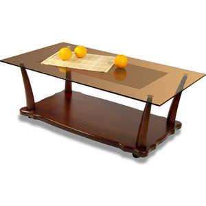 Стол журнальный Мебелик Квартет 6М, средне-коричневый/ тонированное