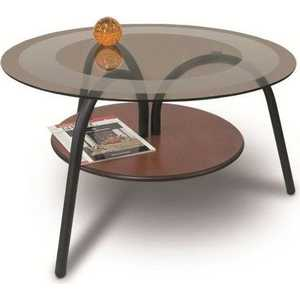 Стол журнальный Мебелик Дуэт 1, чёрный/ средне-коричневый/ тонированный стол журнальный мебелик комфорт 3 орех средне коричневый