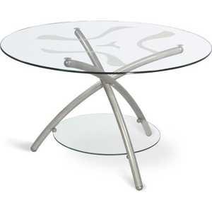 Стол журнальный Мебелик Дуэт 3 металлик/прозрачное стекло стол журнальный мебелик дуэт 3 чёрный тонированное
