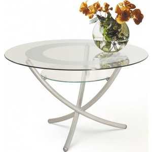Стол журнальный Мебелик Дуэт 4, металлик/ прозрачное