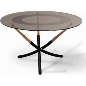 Стол журнальный Мебелик Дуэт 4Н, чёрный/ средне-коричневый/ тонированное
