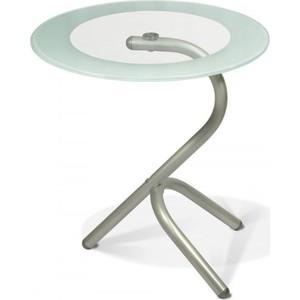 Стол журнальный Мебелик Дуэт 5, металлик/ прозрачное