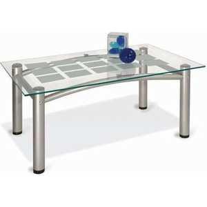 Стол журнальный Мебелик Робер 3М, металлик/ прозрачное