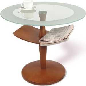 Стол журнальный Мебелик Рио 2, средне-коричневый/ прозрачное стекло шатура стол журнальный рио 1 средне коричневый прозрачное