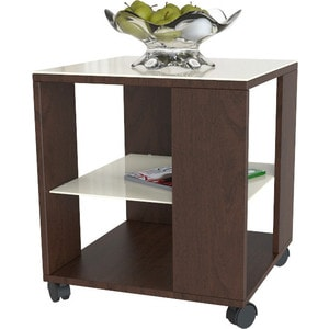 Стол журнальный Мебелик BeautyStyle 6, темно-коричневый/стекло бежевое