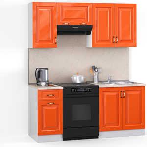 Кухонный гарнитур МегаЭлатон ''Декор'', 1600, белый /оранжевый глянец /желтый мрамор