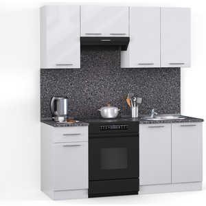 Кухонный гарнитур МегаЭлатон ''Хай-тек'', 1600, белый /белый глянец /антрацит