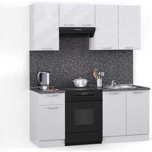 Кухонный гарнитур МегаЭлатон ''Лайн'', 1600, белый /белый глянец /антрацит