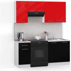 Кухонный гарнитур МегаЭлатон ''Хай-тек'', 1600, белый /черный металлик, красный металлик /сахара