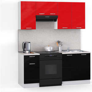 Кухонный гарнитур МегаЭлатон ''Лайн'', 1600, белый /черный металлик, красный металлик /сахара