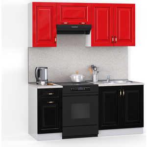 Кухонный гарнитур МегаЭлатон ''Декор'', 1600, белый /черный металлик, красный металлик /сахара
