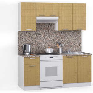 Кухонный гарнитур МегаЭлатон ''Лайн'', 1600, белый /венге светлый рифленый /гранит
