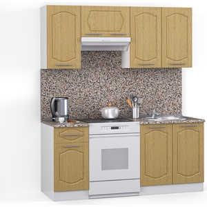 Кухонный гарнитур МегаЭлатон ''Классик'', 1600, белый /венге светлый рифленый /гранит