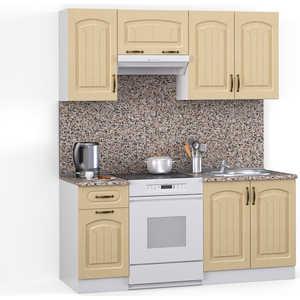 Кухонный гарнитур МегаЭлатон ''Флорида'', 1600, белый /лен белый /гранит