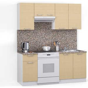 Кухонный гарнитур МегаЭлатон ''Лайн'', 1600, белый /лен белый /гранит