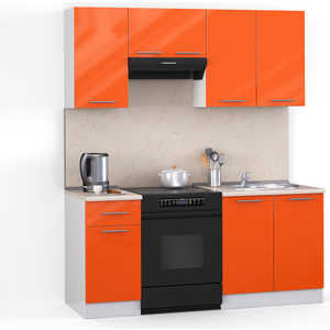 Кухонный гарнитур МегаЭлатон ''Хай-тек'', 1800, белый /оранжевый глянец /желтый мрамор