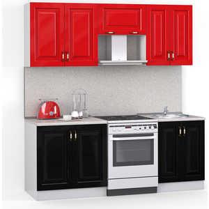 Кухонный гарнитур МегаЭлатон ''Декор'', 2000, белый /черный металлик, красный металлик /сахара