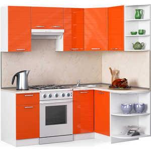 Кухонный гарнитур МегаЭлатон ''Лайн'', 2000 х 1300, белый /оранжевый глянец /желтый мрамор