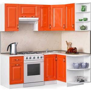 Кухонный гарнитур МегаЭлатон ''Декор'', 2000 х 1300, белый /оранжевый глянец /желтый мрамор