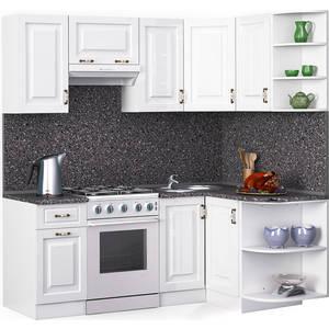 Кухонный гарнитур МегаЭлатон ''Декор'', 2000 х 1300, белый /белый глянец /антрацит