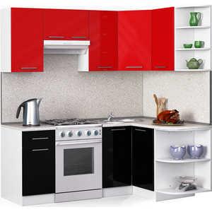 Кухонный гарнитур МегаЭлатон ''Хай-тек'', 2000 х 1300, белый /черный металлик, красный металлик /сахара