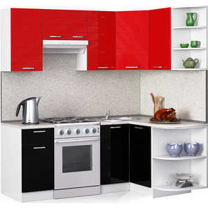 Кухонный гарнитур МегаЭлатон ''Лайн'', 2000 х 1300, белый /черный металлик, красный металлик /сахара