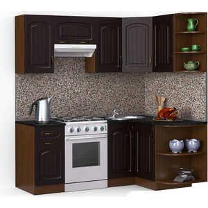 Кухонный гарнитур МегаЭлатон ''Флорида'', 2000 х 1300, орех /венге темный /черный гранит