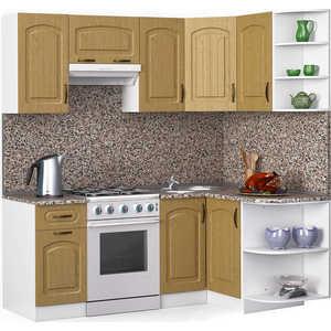 Кухонный гарнитур МегаЭлатон ''Флорида'', 2000 х 1300, белый /венге светлый рифленый /гранит