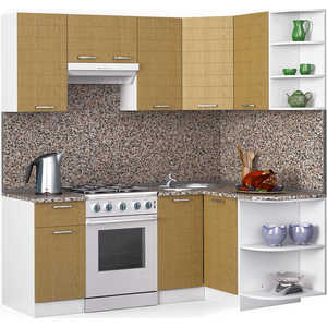 Кухонный гарнитур МегаЭлатон ''Лайн'', 2000 х 1300, белый /венге светлый рифленый /гранит