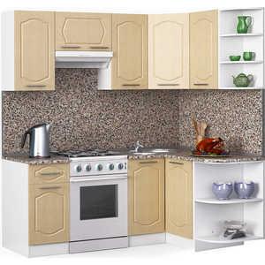 Кухонный гарнитур МегаЭлатон ''Классик'', 2000 х 1300, белый /венге светлый рифленый /гранит