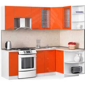 Кухонный гарнитур МегаЭлатон ''Хай-тек'', 2200 х 1300, белый /оранжевый глянец /желтый мрамор