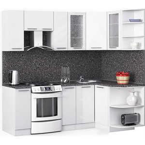 Кухонный гарнитур МегаЭлатон ''Хай-тек'', 2200 х 1300, белый /белый глянец /антрацит