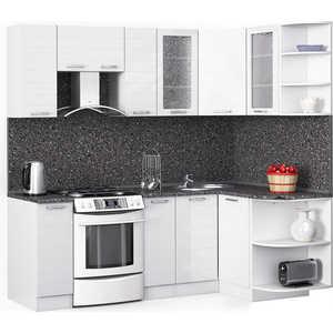 Кухонный гарнитур МегаЭлатон ''Лайн'', 2200 х 1300, белый /белый глянец /антрацит