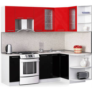 Кухонный гарнитур МегаЭлатон ''Хай-тек'', 2200 х 1300, белый /черный металлик, красный металлик /сахара