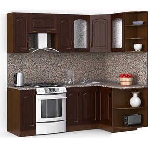 Кухонный гарнитур МегаЭлатон ''Флорида'', 2200 х 1300, орех /венге темный /черный гранит