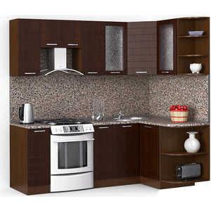 Кухонный гарнитур МегаЭлатон ''Лайн'', 2200 х 1300, орех /венге темный /черный гранит