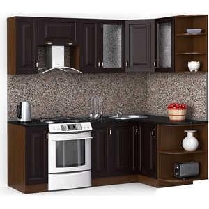 Кухонный гарнитур МегаЭлатон ''Декор'', 2200 х 1300, орех /венге темный /черный гранит