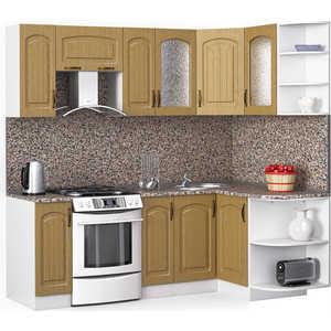 Кухонный гарнитур МегаЭлатон ''Флорида'', 2200 х 1300, белый /венге светлый рифленый /гранит