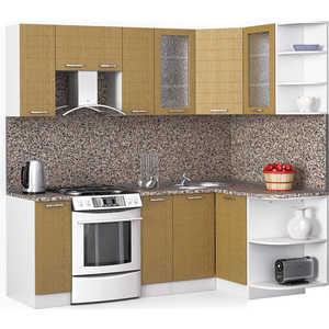 Кухонный гарнитур МегаЭлатон ''Лайн'', 2200 х 1300, белый /венге светлый рифленый /гранит
