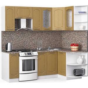 Кухонный гарнитур МегаЭлатон ''Классик'', 2200 х 1300, белый /венге светлый рифленый /гранит