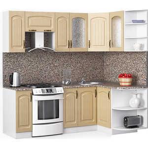 Кухонный гарнитур МегаЭлатон ''Флорида'', 2200 х 1300, белый /лен белый /гранит