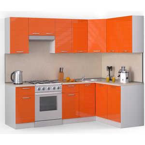 Кухонный гарнитур МегаЭлатон ''Лайн'', 2400 х 1400, белый /оранжевый глянец /желтый мрамор