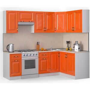 Кухонный гарнитур МегаЭлатон ''Декор'', 2400 х 1400, белый /оранжевый глянец /желтый мрамор