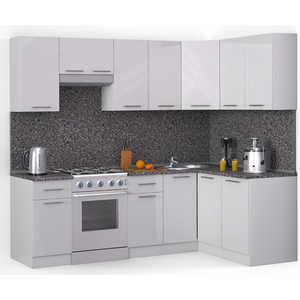 Кухонный гарнитур МегаЭлатон ''Хай-тек'', 2400 х 1400, белый /белый глянец /антрацит