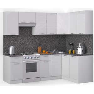 Кухонный гарнитур МегаЭлатон ''Лайн'', 2400 х 1400, белый /белый глянец /антрацит